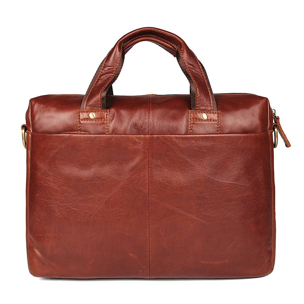 Bella Vista Leather Laptop Messenger Bag - Reddish Brown-Universal Store London™