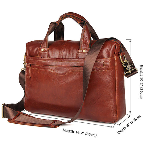 Image of Bella Vista Leather Laptop Messenger Bag - Reddish Brown-Universal Store London™