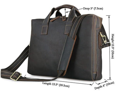 'Buckingham' Dark Brown Double Zip Leather Briefcase-Universal Store London™