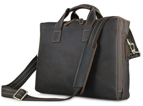 Image of 'Buckingham' Dark Brown Double Zip Leather Briefcase-Universal Store London™