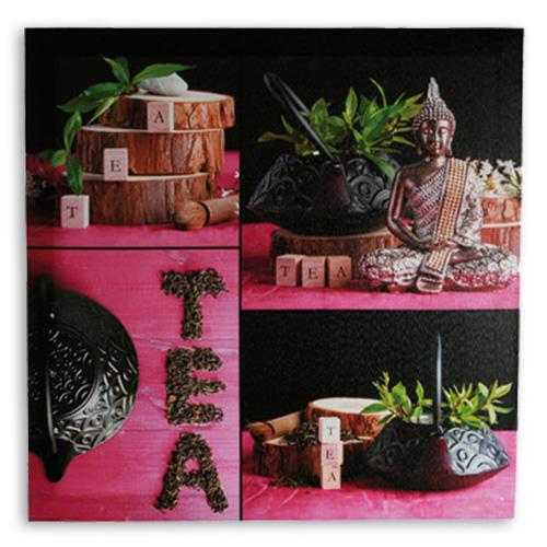 Buddha Tea Picture on Linen Canvas 50 x 50-Universal Store London™
