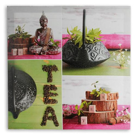 Image of Buddha Tea Picture on Linen Canvas 50 x 50-Universal Store London™