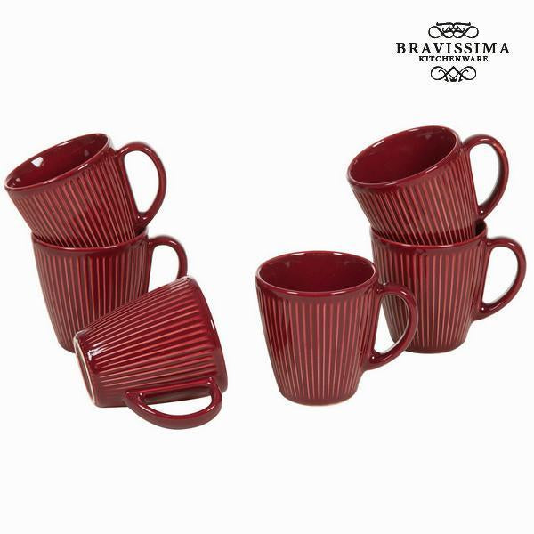 Burgundy jar set of 6 - Kitchen's Deco Collection by Bravissima Kitchen-Universal Store London™