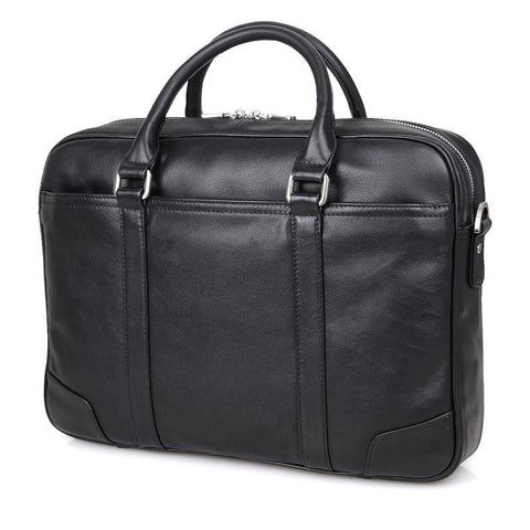 Image of Calabria Italian Leather Business Briefcase - Black-Universal Store London™