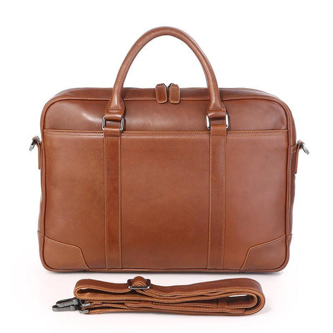 Image of Calabria Italian Leather Business Briefcase - Brown-Universal Store London™