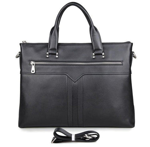 Image of 'Canary Wharf' Grained Leather Briefcase-Universal Store London™