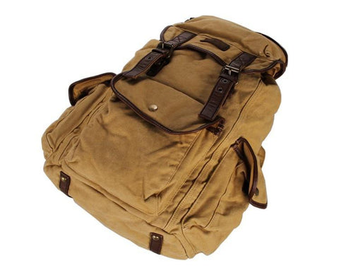 Image of Canvas and Genuine Leather Backpack - Large Capacity-Universal Store London™