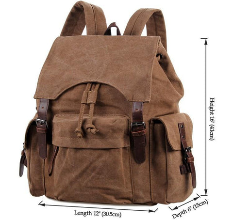 "Image of Canvas and Genuine Leather Backpack ""Petra""-Universal Store London™"