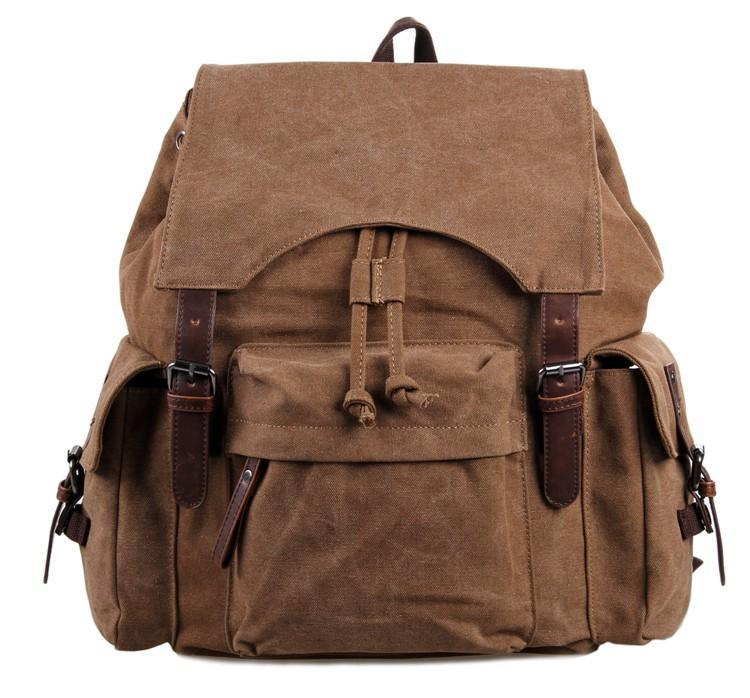 "Canvas and Genuine Leather Backpack ""Petra""-Universal Store London™"