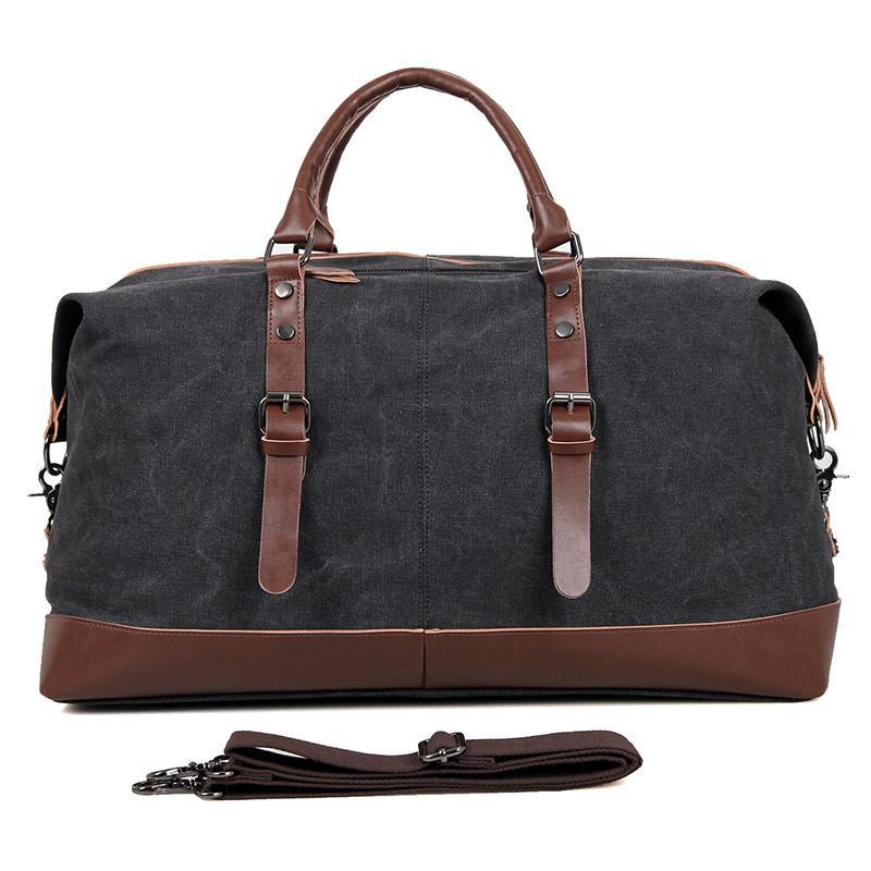 Canvas and Leather Vintage Overnight Duffel Weekender Bag - Black-Universal Store London™