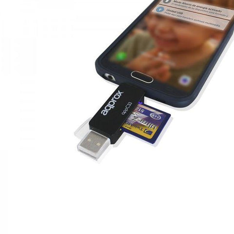 Card Reader approx! FLTLFL0083 APPC33 Micro SD/SD/MMC Micro USB 480 Mbps 32 GB Black-Universal Store London™