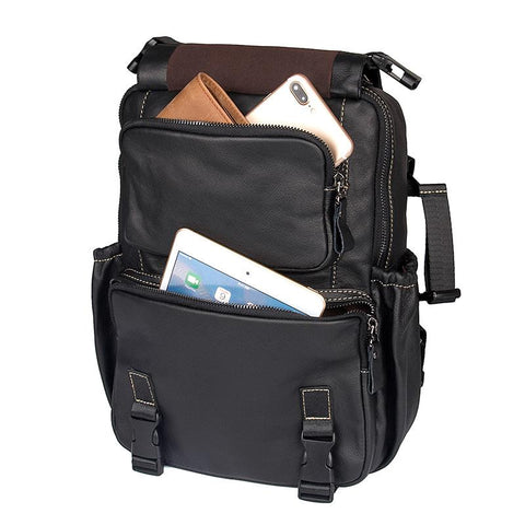 Image of Carnaby Street Leather Medium Backpack, Black-Universal Store London™