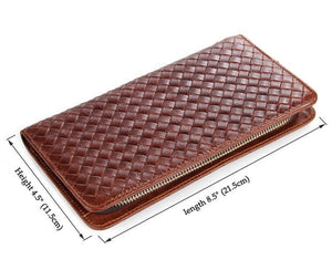 Charlotte Brown Unisex Woven Leather Clutch Wallet Bag