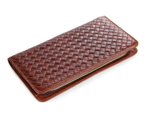 Image of Charlotte Brown Unisex Woven Leather Clutch Wallet Bag-Universal Store London™