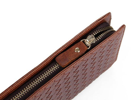 Charlotte Brown Unisex Woven Leather Clutch Wallet Bag-Universal Store London™