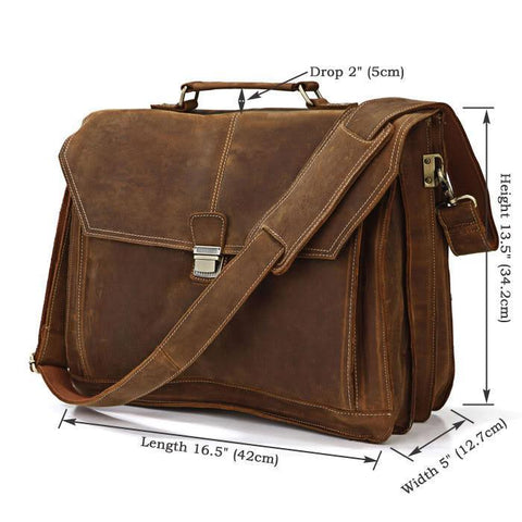 Image of City Leather Laptop Briefcase-Universal Store London™
