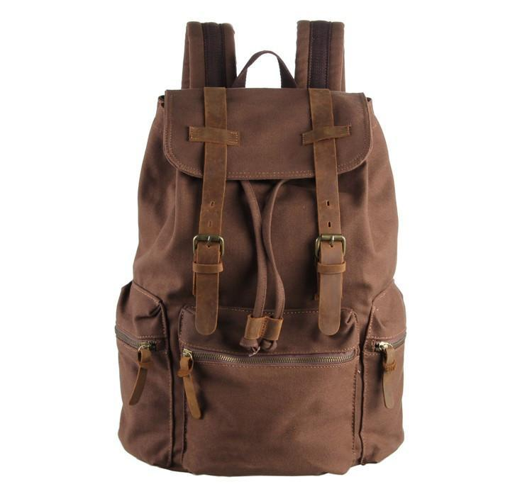 Classic Canvas and Genuine Leather Backpack 'Amsterdam'-Universal Store London™