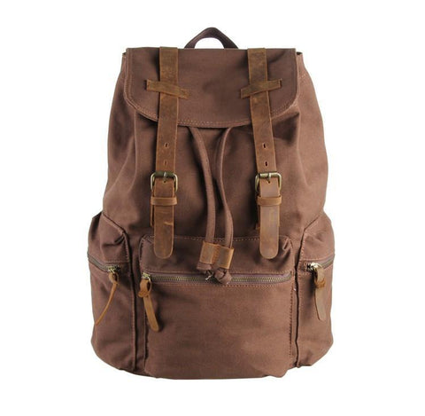 Image of Classic Canvas and Genuine Leather Backpack 'Amsterdam'-Universal Store London™