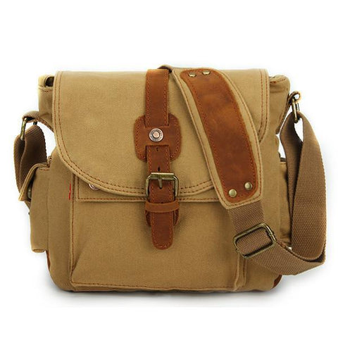 Image of Classic Canvas and Leather Messenger Bag-Universal Store London™
