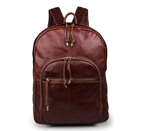 Image of Classic Style Brown Leather Backpack-Universal Store London™