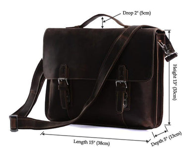 Classic Style Leather Laptop Briefcase Messenger Bag-Universal Store London™