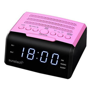 "Clock-Radio Sunstech FRD35UPK LED 0.9"" USB Pink-Universal Store London™"