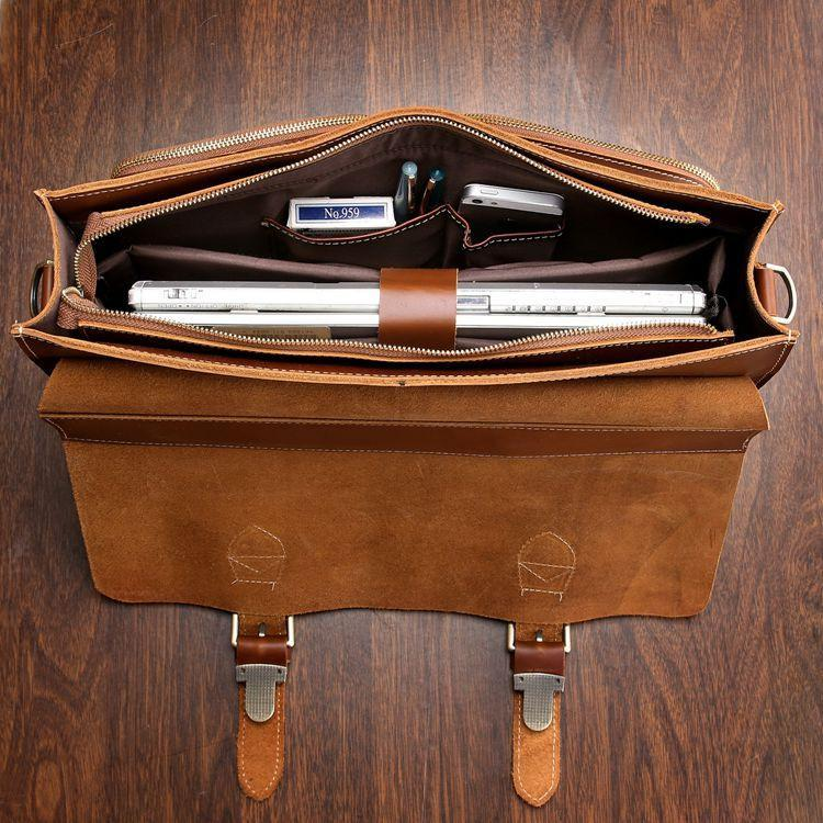 'Cognac' Leather Briefcase Business Bag-Universal Store London™