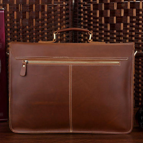 Image of 'Cognac' Leather Briefcase Business Bag-Universal Store London™