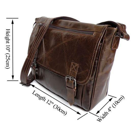 Image of Colombo Distressed Leather Messenger Bag-Universal Store London™