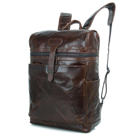 Image of 'Cronus' Handmade Saddle Leather Backpack-Universal Store London™