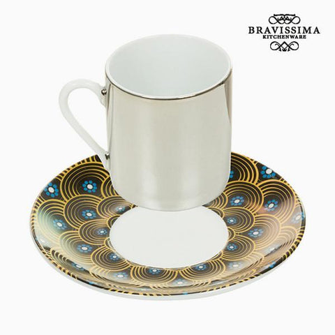 Image of Cup with Plate Magic Porcelain Yellow Blue - Kitchen's Deco Collection by Bravissima Kitchen-Universal Store London™