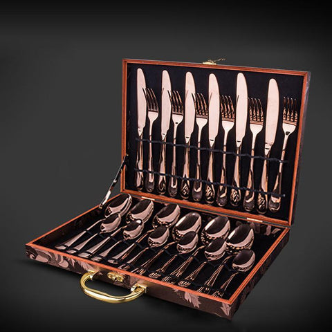Image of Cutlery Set KCASA™ Rose Gold Stainless Steel, 24 Piece-Universal Store London™