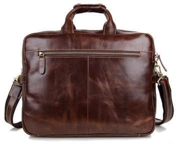 Davos Handmade Leather Laptop Messenger Briefcase - Brown-Universal Store London™