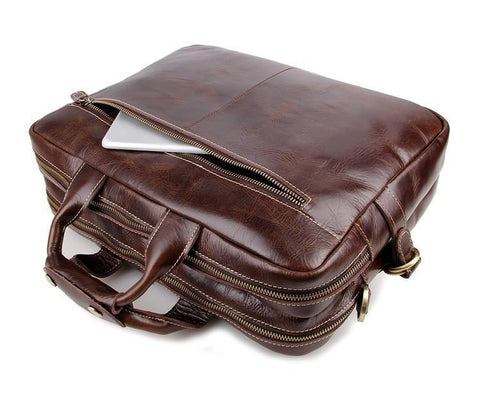 Image of Davos Handmade Leather Laptop Messenger Briefcase - Brown-Universal Store London™