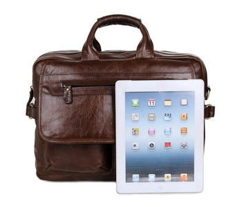Davos Handmade Leather Laptop Messenger Briefcase - Dark Brown-Universal Store London™