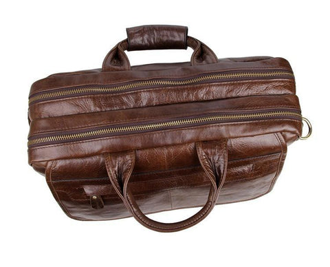 Image of Davos Handmade Leather Laptop Messenger Briefcase - Dark Brown-Universal Store London™