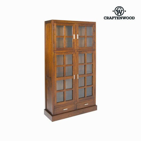 Display Cabinet With Double Glass Doors Wood / Walnut - Nogal Collection by Craftenwood-Universal Store London™