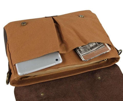 Image of 'Dublin' Classic Canvas and Leather Messenger Bag-Universal Store London™