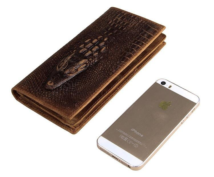 Exclusive Alligator Embossed Leather Bi-Fold Long Wallet USL8030C-Universal Store London™