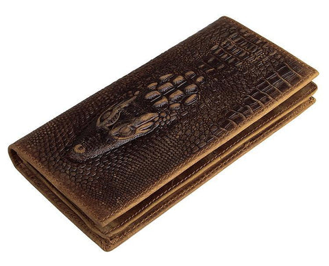 Image of Exclusive Alligator Embossed Leather Bi-Fold Long Wallet USL8030C-Universal Store London™