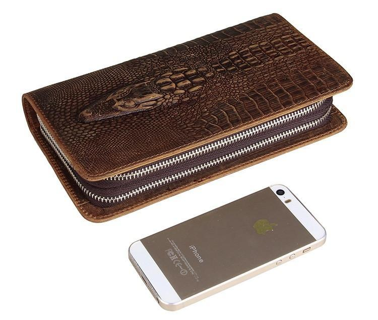 Exclusive Alligator Embossed Leather Handy Wrist Bag USL8070R-1-Universal Store London™