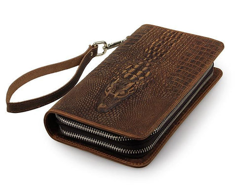 Image of Exclusive Alligator Embossed Leather Handy Wrist Bag USL8070R-1-Universal Store London™
