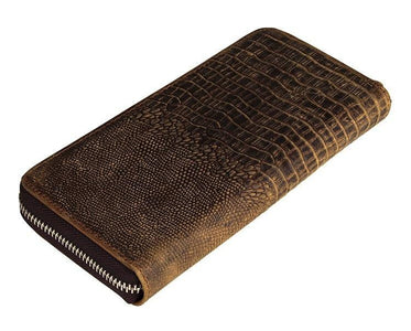 Exclusive Handmade Alligator Embossed Leather Bi-Fold Long Zippered Wallet USL8067R-Universal Store London™