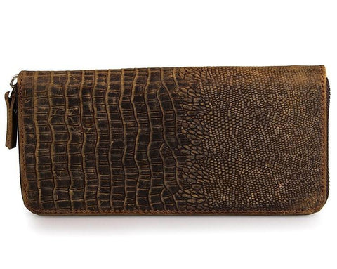 Image of Exclusive Handmade Alligator Embossed Leather Bi-Fold Long Zippered Wallet USL8067R-Universal Store London™