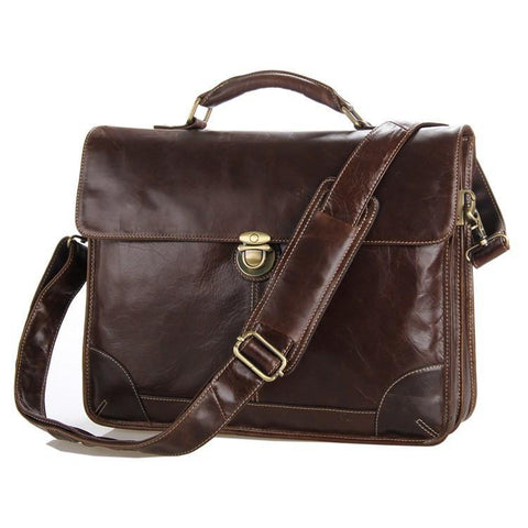 Image of Executive Attache Full Grain Leather Briefcase-Universal Store London™