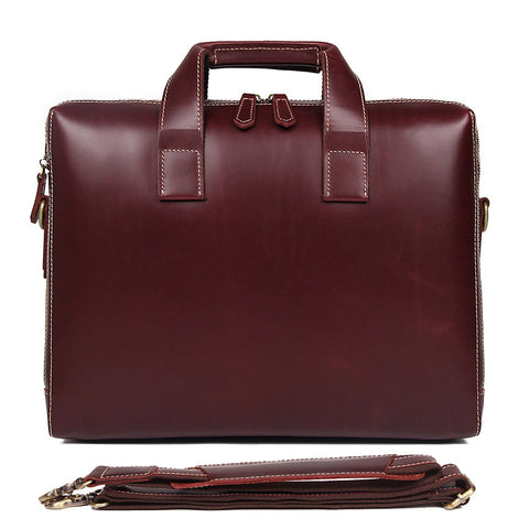 Image of 'Grosvenor' Leather Double Zip Workbag-Universal Store London™