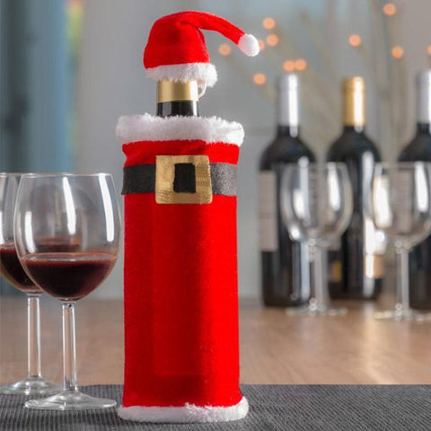 Image of Father Christmas Hat and Coat for Bottles-Universal Store London™