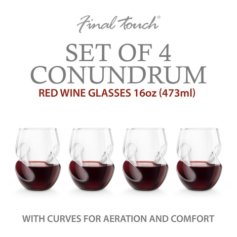 Image of Final Touch Conundrum Red Wine Glasses - Set of 4-Universal Store London™