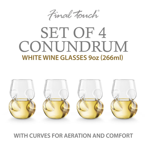 Image of Final Touch Conundrum White Wine Glasses - Set of 4-Universal Store London™