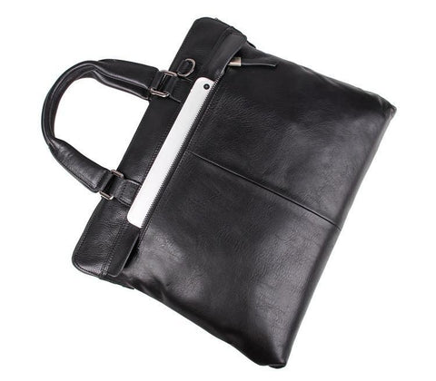 Image of 'Fitzrovia' Black Leather Business Bag-Universal Store London™